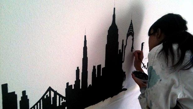 Vinilos para paredes con gotel for Vinilos pared new york