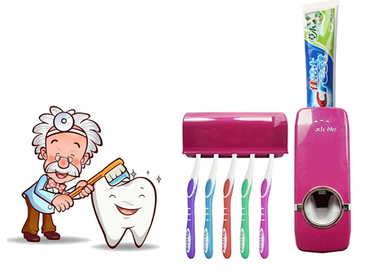 -Home-Bathroom-Household-Automatic-Auto-Toothpaste-Dispenser-Toothbrush-Holder-Set-Wall-Mount-toothbrush-Family-sets